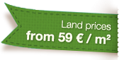 Land prices starting from 59 € / m2